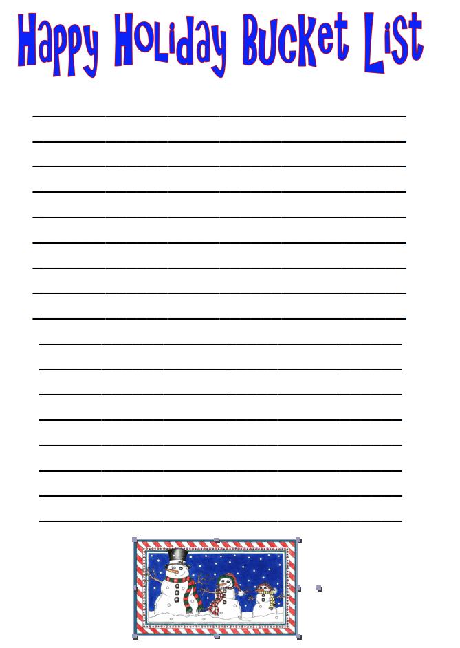 Free Printable Happy Holiday Bucket List