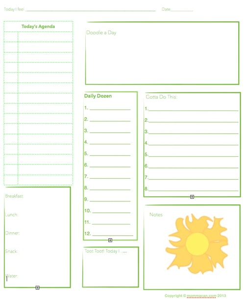 Free Printable Daily Planning Agenda – Sheet for Summer