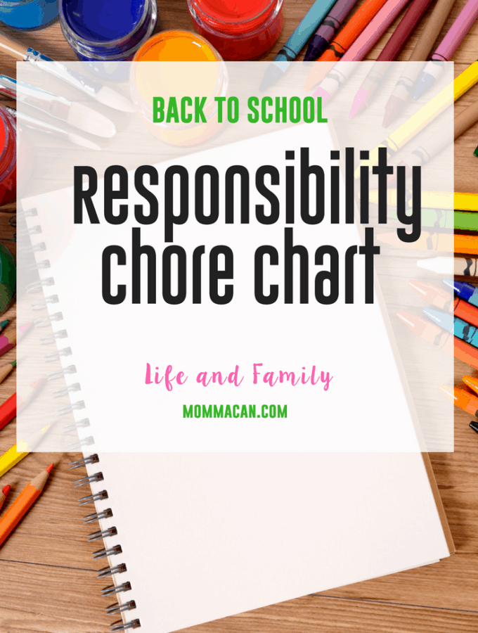 Back to School Responsibility Chart- Chore Chart