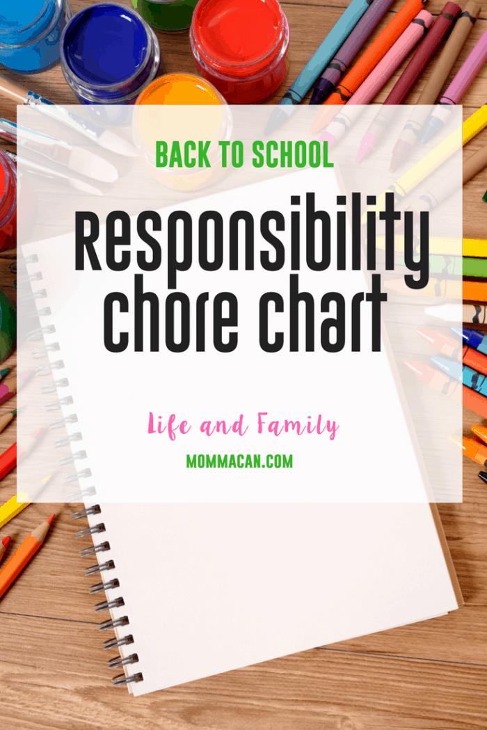 Back to School Responsibility Chart- Chore Chart