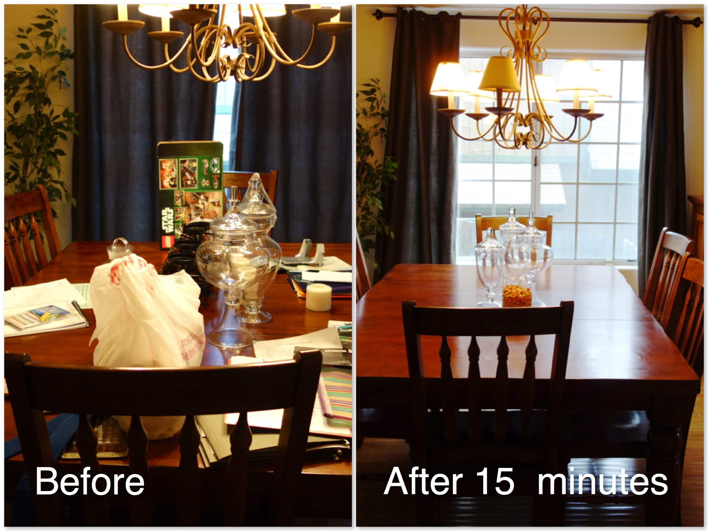 Before and After Photos Messy Dining Room Table