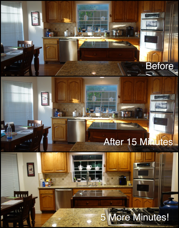 before and after photos of a cleaned up messy kitchen