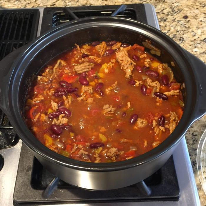 Rock Croc, rocking the spicy turkey chili recipe.