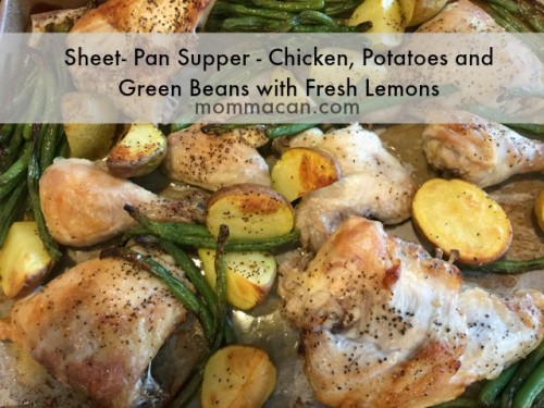 sheet pan supper chicken potatoes and green beans mommacan.com