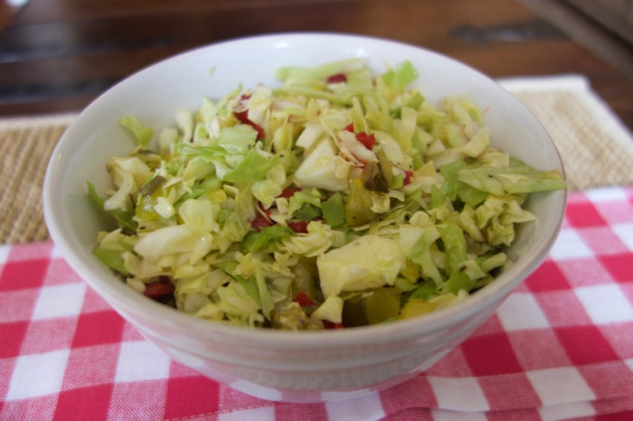 Cherry Pepper Pickle Slaw perfect for summer BBQ's.
