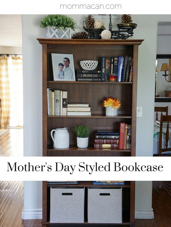 Bookcase Styled For Mother's Day