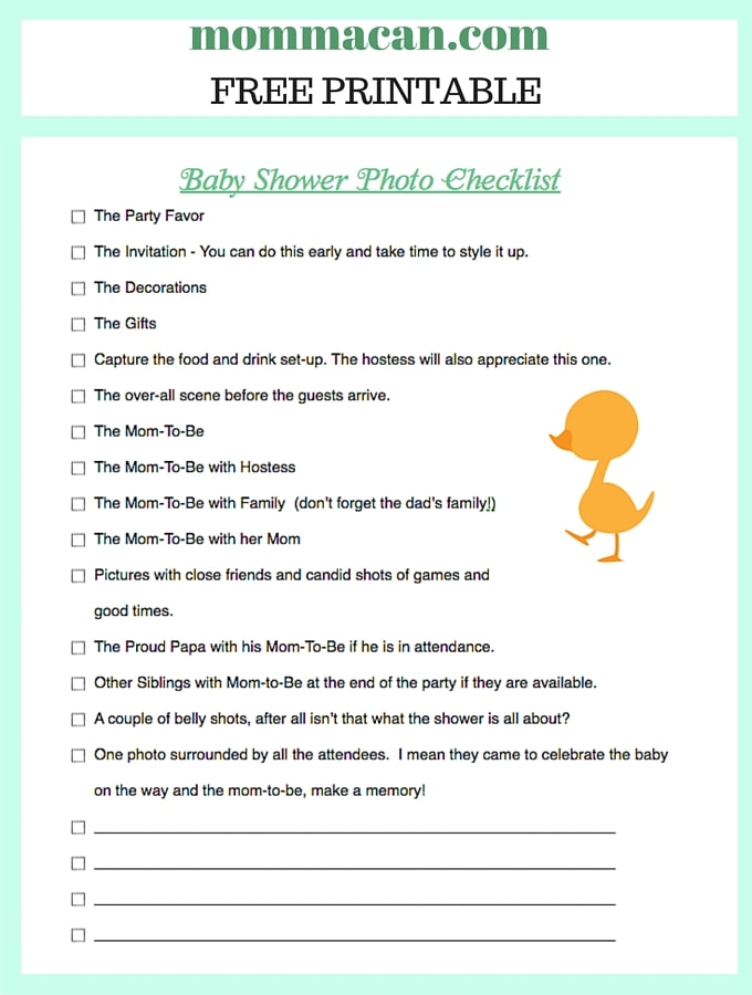 Baby shower photo checklist momma can for Baby shower decoration checklist