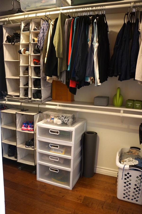 """Organized """"REAL"""" Closet. These are my real clothes and that is a real load of dirty laundry. I love my organized closet, it was cheap and did th job."""