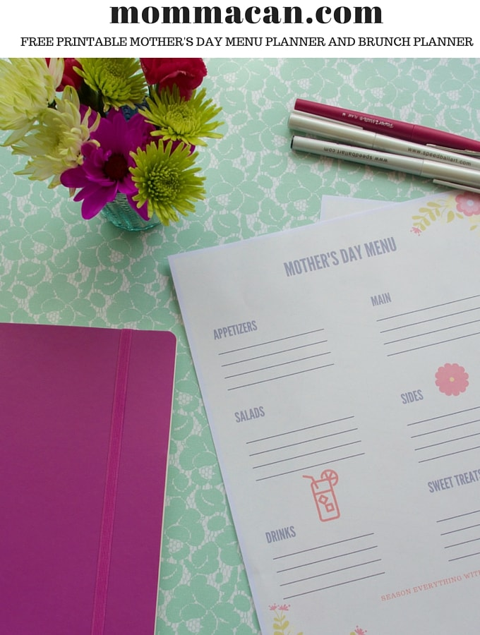 Free Printable Brunch Planner and Mother's Day Menu Planner