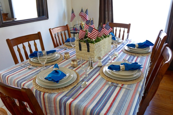 4th of July Table with Flags in Corner