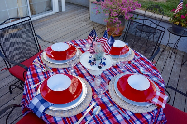 4th of July Decorations - Patriotic Red White and Blue Tablescape