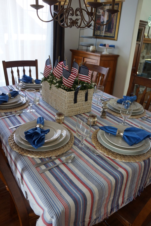 4th of July Decorations - Dining ROom Table with American Flag centerpiece