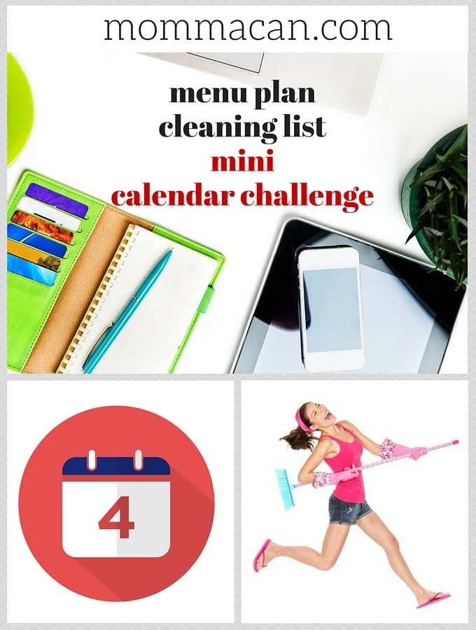 Menu Plan, Cleaning List, Mini Calendar Challenge