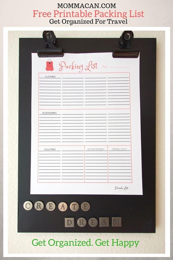 Free Printable Packing List