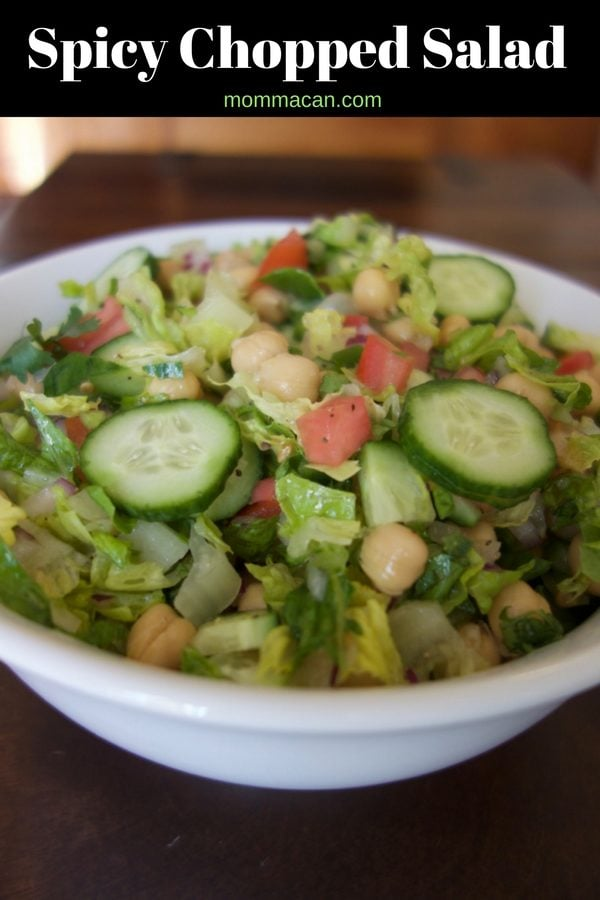 Spicy Chopped Salad - A simple recipe with lots of flavor bang for your buck! Perfect as a stand-alone lunch or pari with with grilled meats or roasted chicken. Yumtastic!