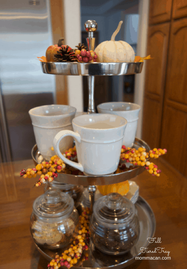 Fall Tiered Tray, Coffee, Tea, or Biscotti?