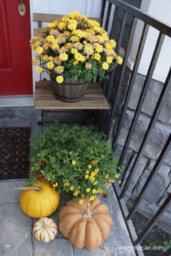 festive-fall-home-tour-front-door-with-orange-and-cream-wood-shave-wreath-mommacan-com-2