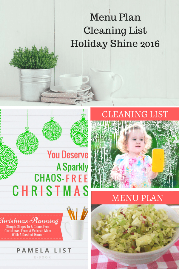Menu Plan, Cleaning List and Holiday Shine 2016