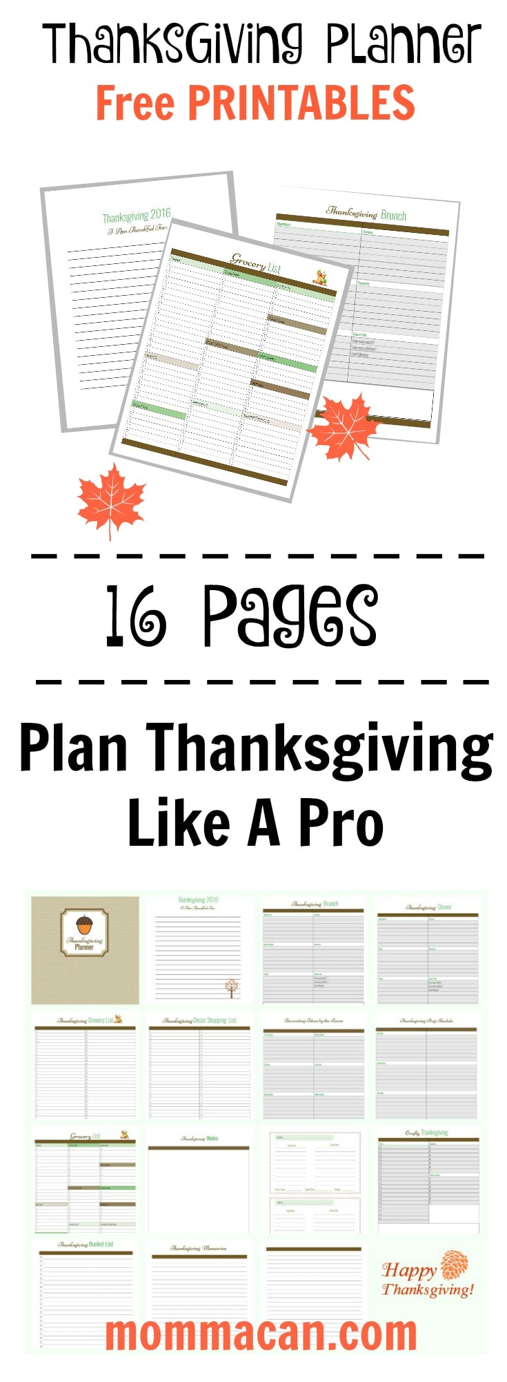 Plan Thanksgiving Like A Pro with thee free printable plannning pages from mommacan.com
