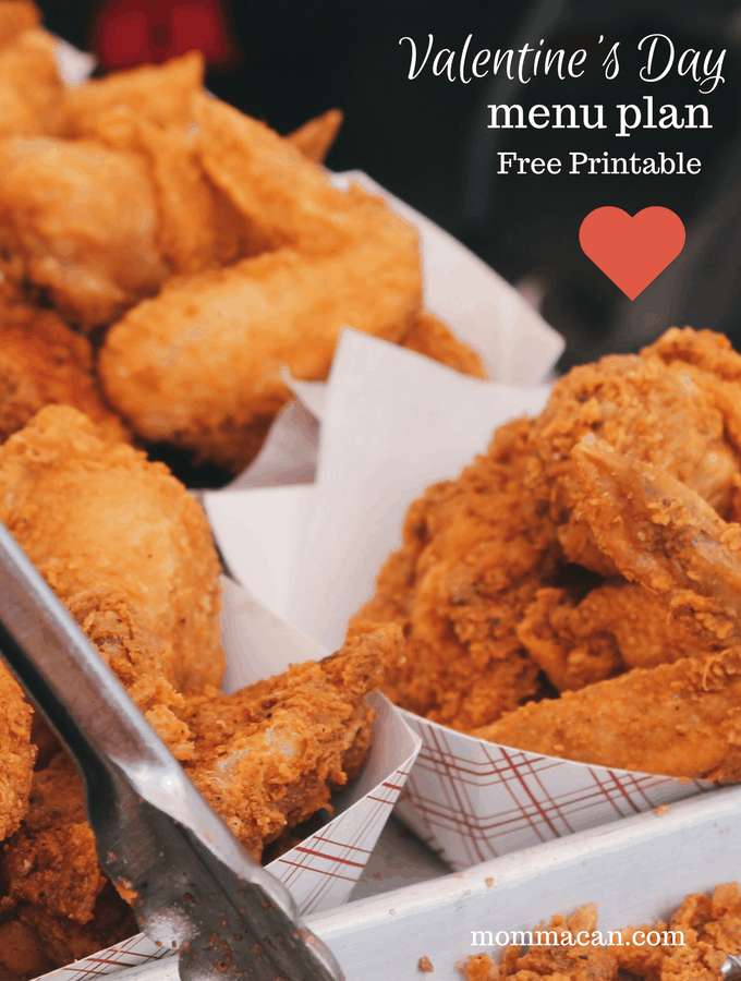 Valentine's Menu Southern Style with a Free Printable Menu Planner