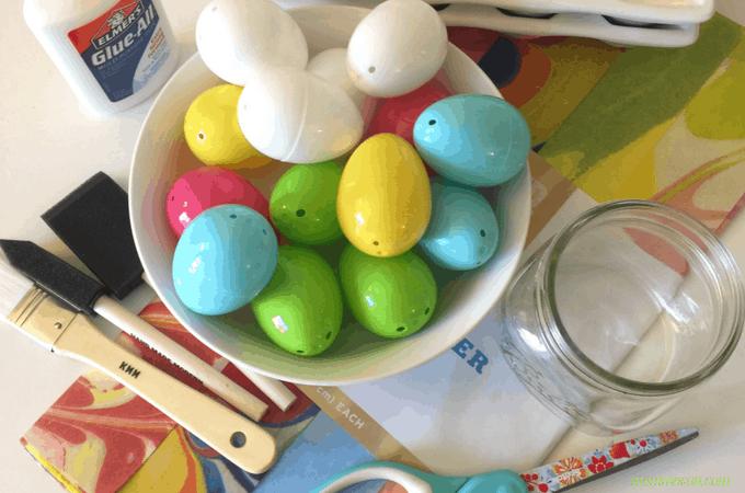 Craft Supples for Paper Mache Plastic Easter eggs using Elmer's Glue