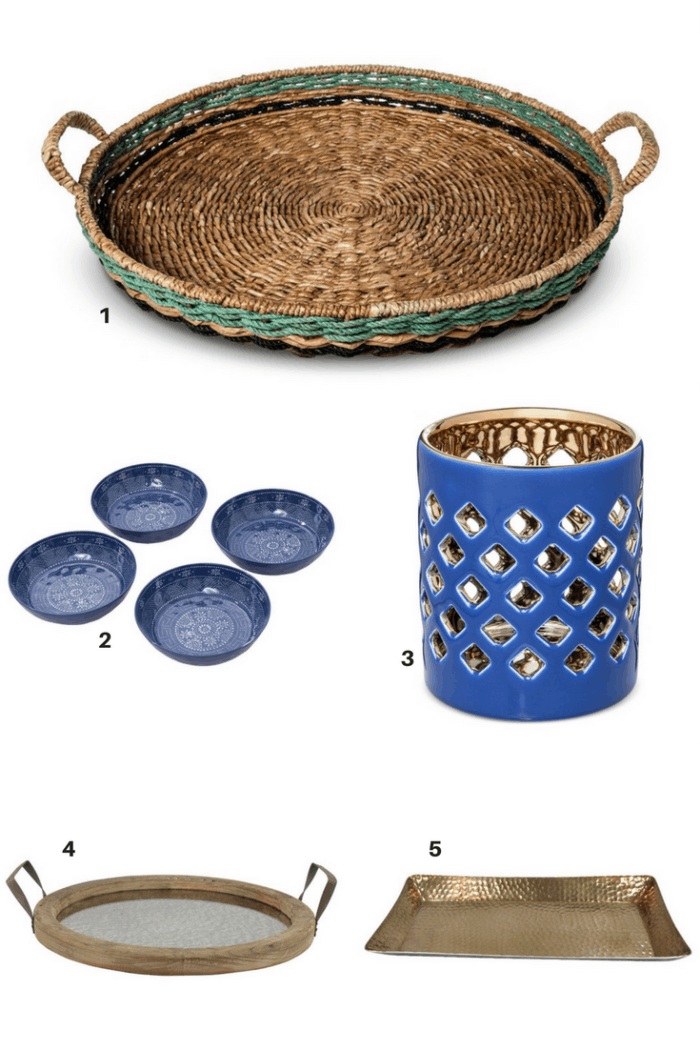 Create a Beautfiul Table Scape with Blues and Metals, add candles and flowers for perfect and simple dinner gathering.