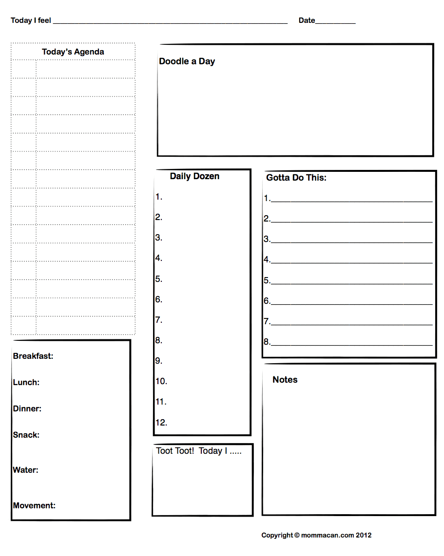 free printable daily agenda with doodle spot and daily meal plan