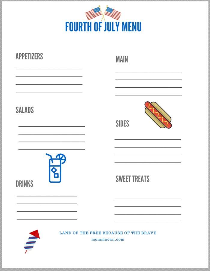 Fourth Of July Menu Planner - Free Printable
