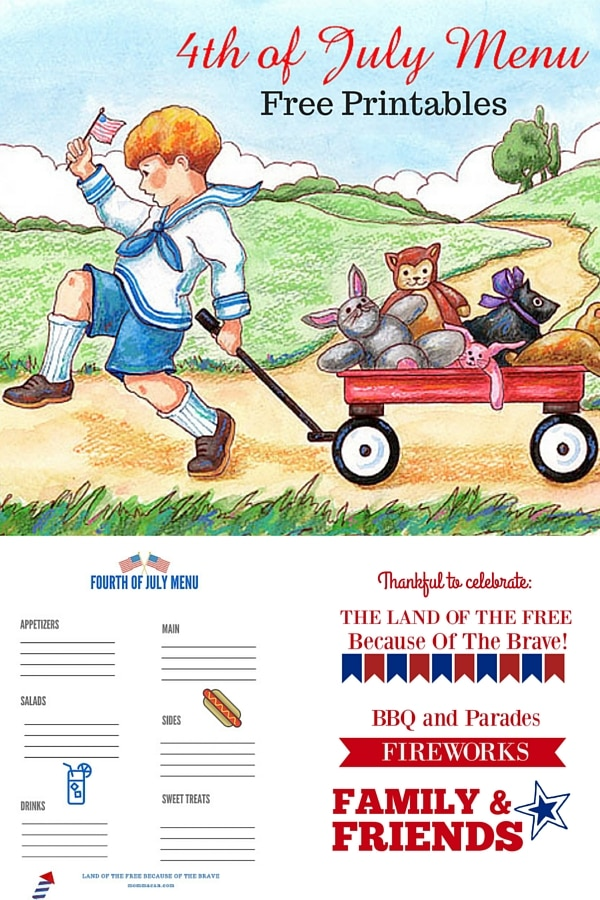 Free Fourth of July Menu Plann Printable
