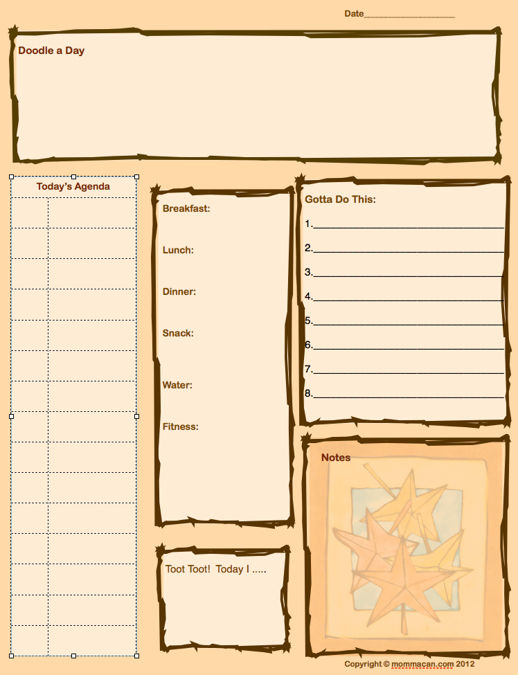 free printable daily agenda sheet for moms in fall colors