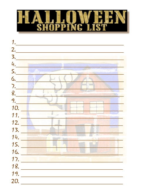 Free Printable Halloween Shopping List