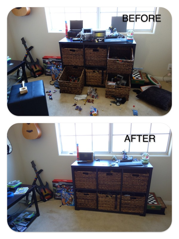 before and after photo messy toys.