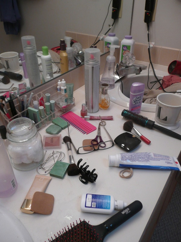 messy bathroom counter