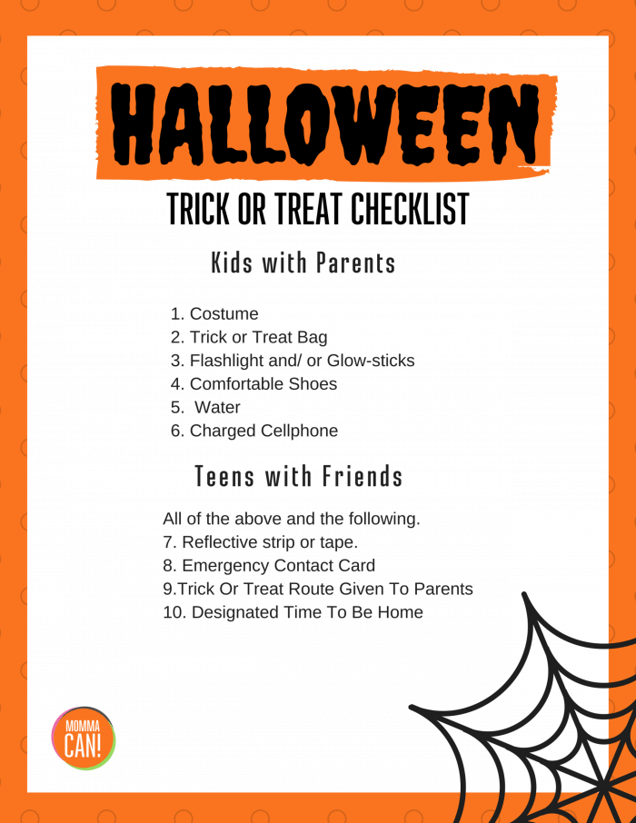Halloween Trick or Treat Checklist