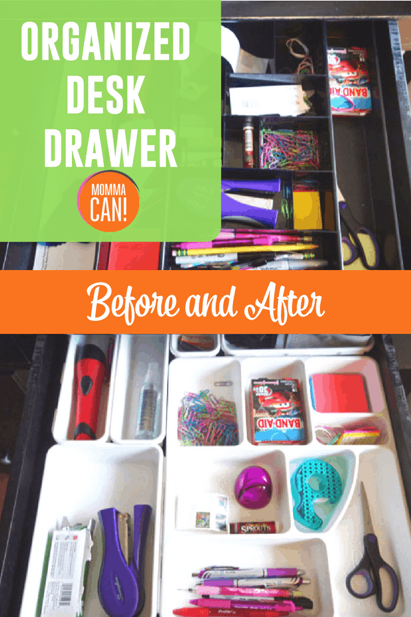 Check out this organizesd desk drawer. A before and after that is afforadble and simple.