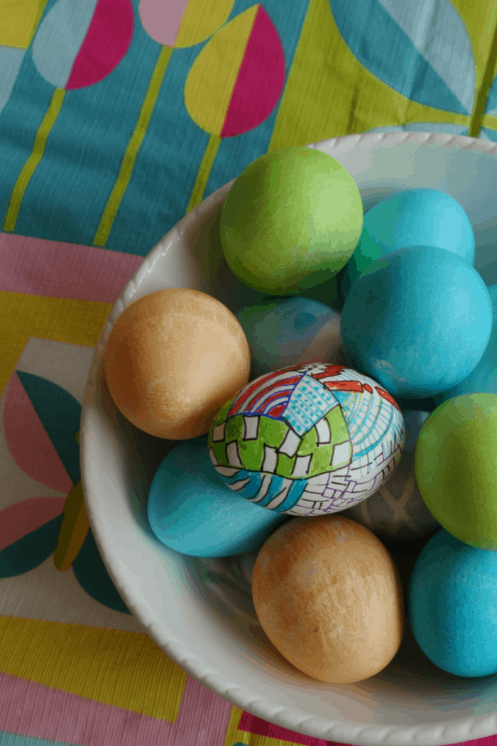 Decorate eggs using fine tip Sharpie Markers