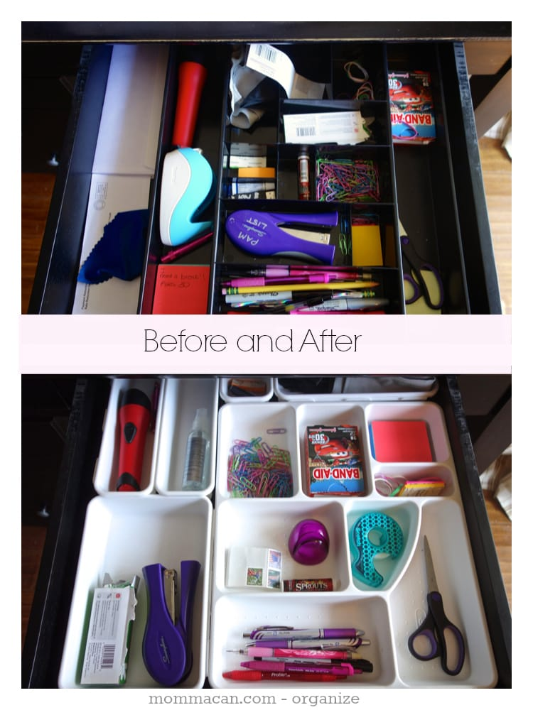Before And After – Desk Drawer Organized