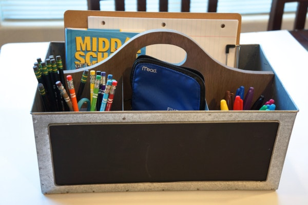 Filled school tool box