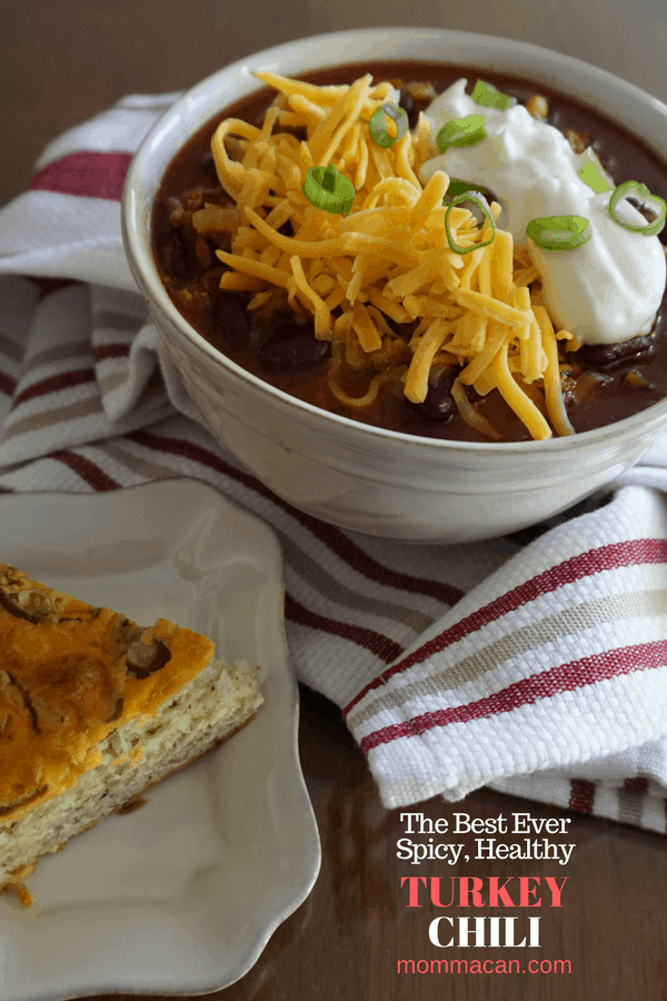 This spicy, aromatic, healthy, turkey chili recipe is darn good. You simply must try it!
