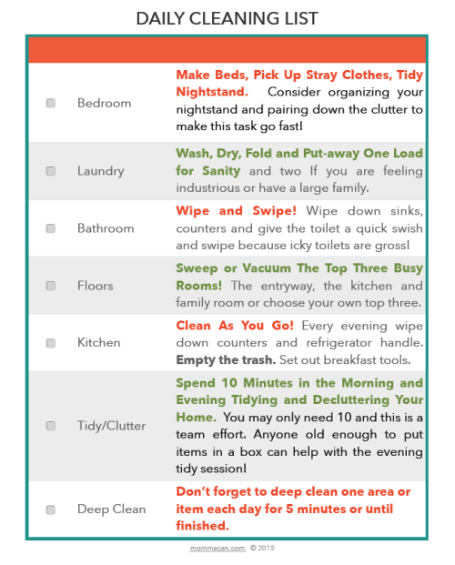 PHOTO of Free prinable Daily Cleaning List a Simple way to keep you home tidy and your time a bit free!