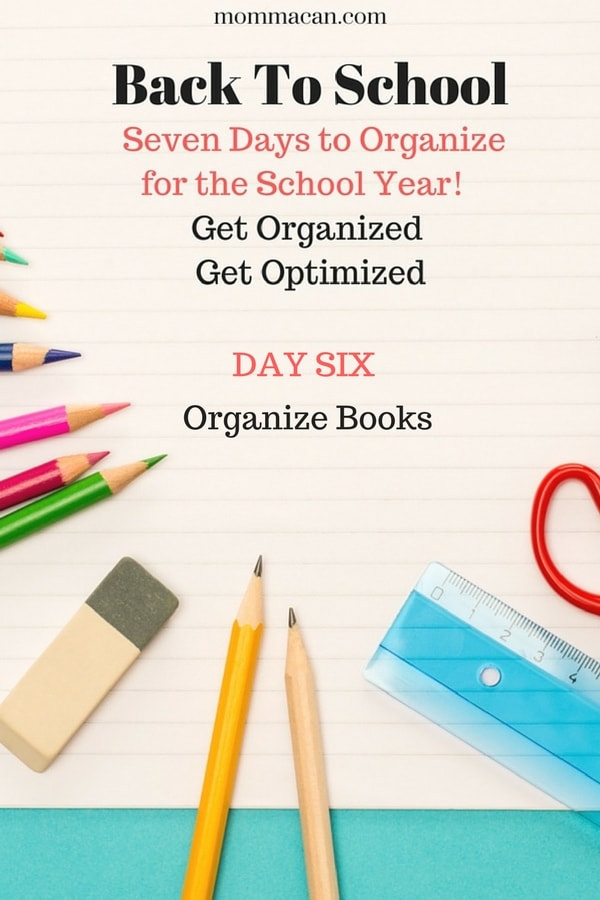 Loving these challenges to help our family get ready for Back to School. Today the challenge in organizing books.