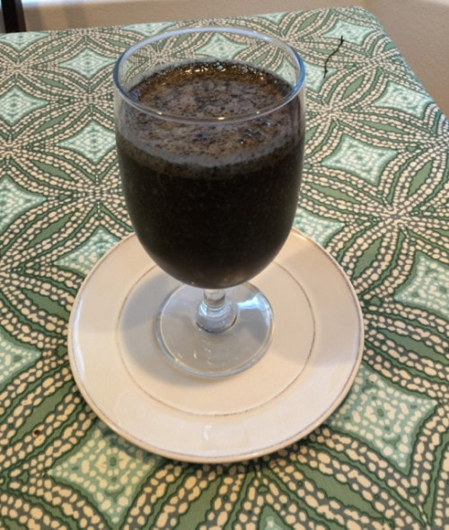 Chocolate Cherry Smoothie with Spinach and Hemp Seeds, Paleo and Vegan Friendly