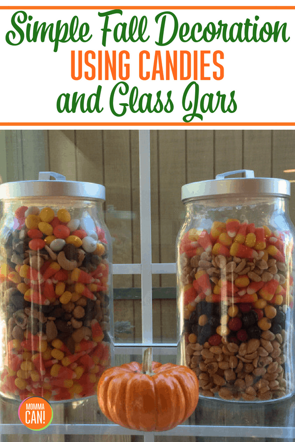 Even the busiest of moms and familes can make this super simple Fall decoration that is pretty yet edible! Using Candy corns, Chocolate Candies, Chocolate chips and nuts these glass jars give the warmth of fall and can be divided up into little baggies as a lunch time treat!