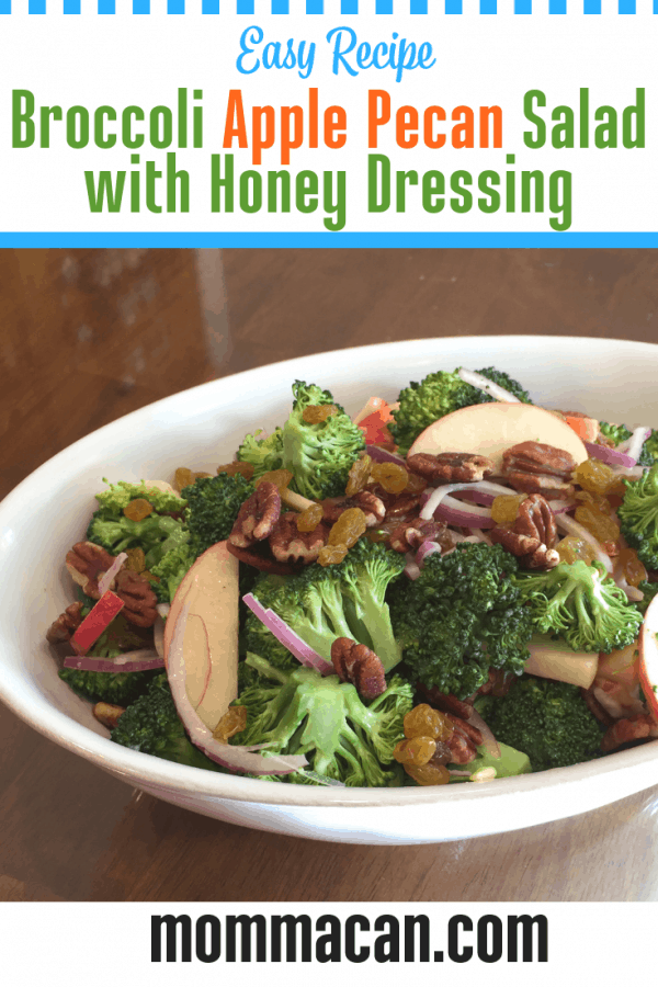 Broccoli Apple Pecan Salad with Honey Dressing with bright vegetables