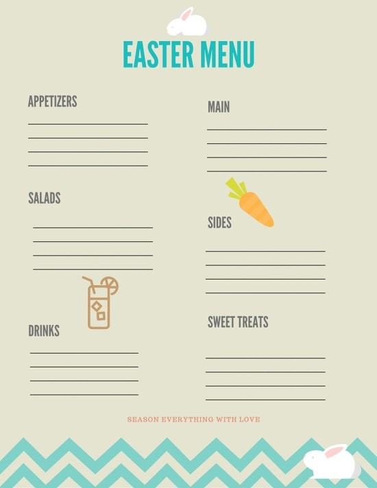 Free Printable Easter Menu Planner from Mommcan.com Happy Easter!