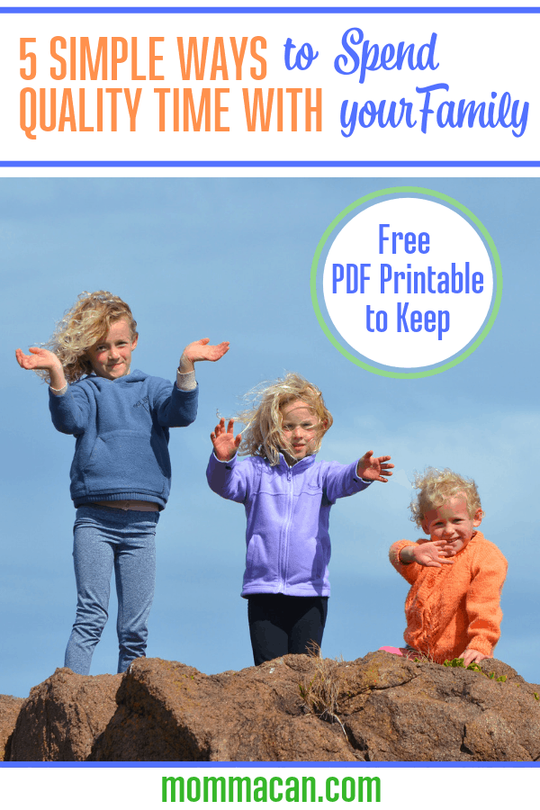 Five Simple Ways to Spend Quality Time with Our Families is simple to do with some preplanning. Grab our PDF for your mom planner,
