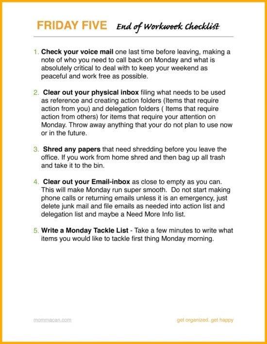 Free Printable Friday Friendly Five End of Workweek Checklist