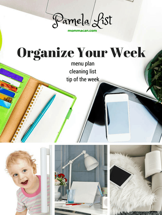 Organize Your Week, Menu Plan, Cleaning List and Tips