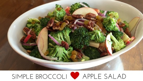 Simple Broccoli Apple Salad with Pecans, golden raisins and a dazzling honey dijon dressing
