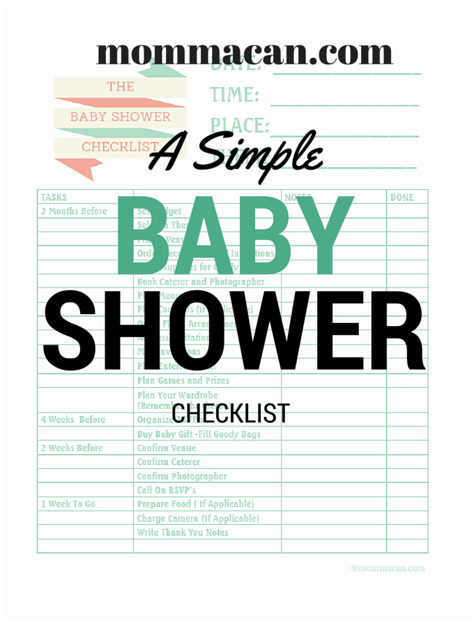Simple Baby Shower Printable Checklist